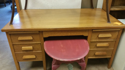 Antique Oak Bankers Desk - as is