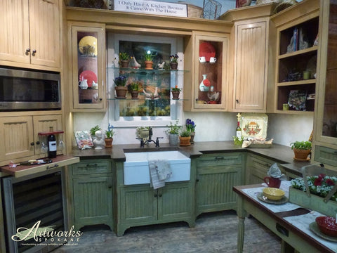 Hand Painted French Country Style Kitchen Showroom Display