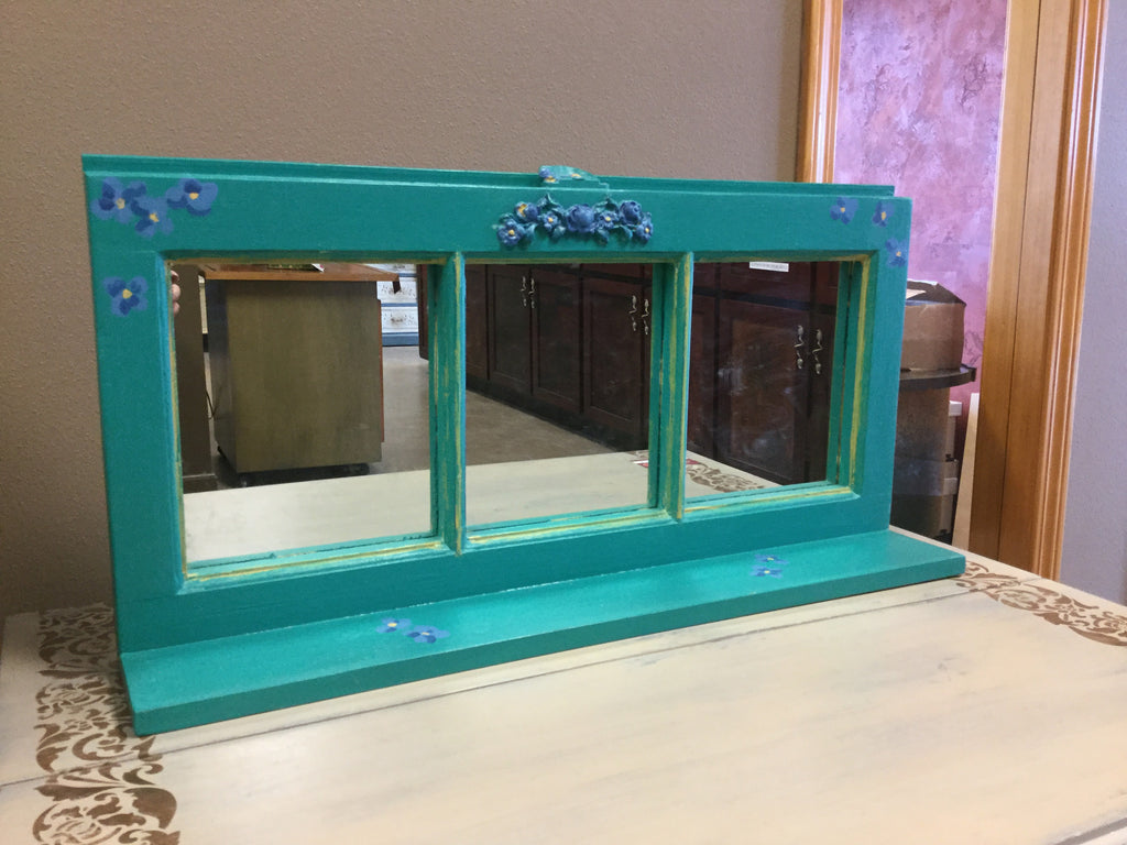 SOLD Hand Painted Mirrored Window Shelf - Artworks Northwest