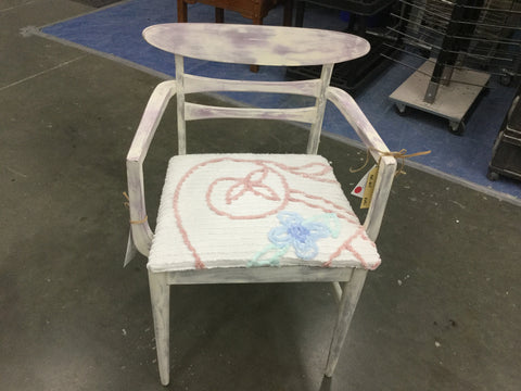 SOLD Hand Painted Wood chair with upholstered seat - Artworks Northwest