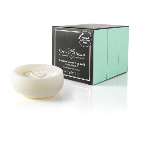 Edwin Jagger Cooling Menthol Shaving Soap, Three - Alpha Yard