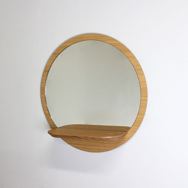 miroir mural rond en bois 30 cm avec tablette sunrise. Black Bedroom Furniture Sets. Home Design Ideas