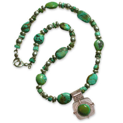 turquoise nugget and heishi necklace with turquoise/silver pendant