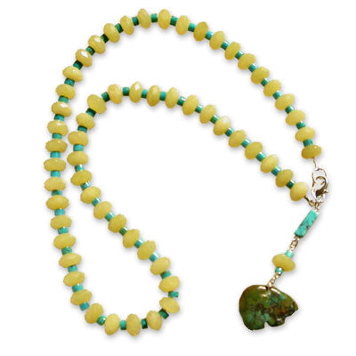 necklace of yellow onyx and turquoise heishi with turquoise, yellow onyx and turquoise bear drop