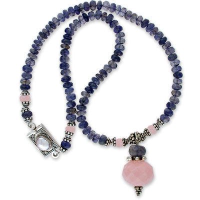 necklace of 6mm iolite and pink quartz rondelles with an iolite and pink quartz pendant