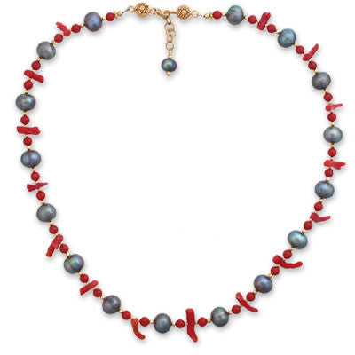 necklace of 9mm dark gray pearls, red mediterranean stick coral & red coral beads
