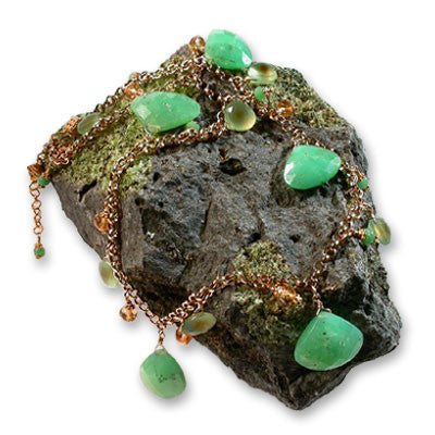 large faceted triangle briolettes of chrysoprase with green 'yellow leapard spot' faceted chalcedony triangle briolettes, large & small rondelles of citrine and small rondelles of chrysoprase on gold-filled chain