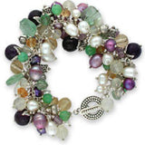 cha cha bracelet of amethyst, citrine, lemon quartz, chrysoprase, green fluorite, pearls & venetian glass in sterling silver.