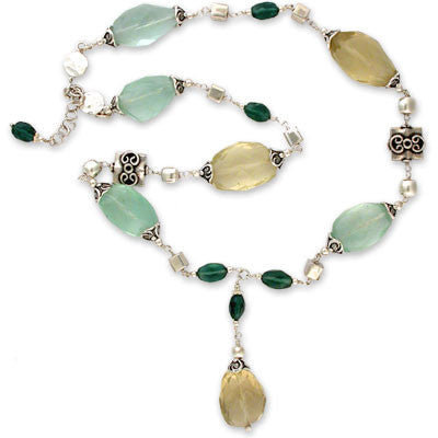 wire-wrapped choker of large faceted green calcite & lemon quartz nuggets and small faceted dark green apatite pillows in sterling silver w/pewter.