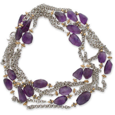 six-foot + necklace of roughly faceted amethyst nuggets on double-linked sterling chain with 22K vermeil accents.