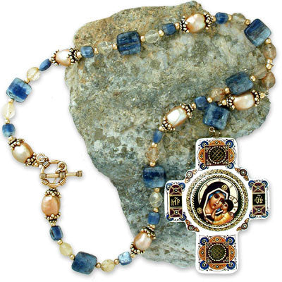 "rare, limited-edition <i>byzantine-style</i> hand-painted icon pendant of <i>madonna & child</i> on large gold baroque pearls, smooth kyanite squares & faceted rutilated quartz, all on 22K vermeil. toggle clasp. pendant drop 5""."