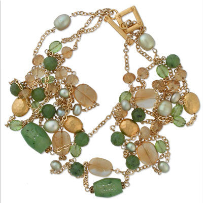 3-strand gold-fill chain necklace with pearls, peridot, citrine, carved jade, serpentine & 22K vermeil
