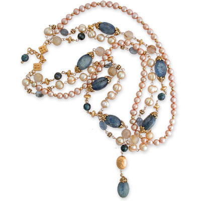 triple-strand necklace of kynaite, rutilated quartz, faceted peacock pearls, gold pearls & vermeil accents with pendant of same. vermeil toggle clasp.