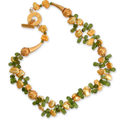 two strands of yellow-gold stick pearls & roughly faceted peridot drops with faceted yassonite & vermeil accents in 22K vermeil. 22K vermeil toggle clasp.