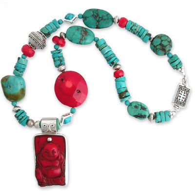 bezel-set red coral laughing buddha pendant on an asymmetrical necklace of coral beads, turquoise heishi & beads and sterling silver beads. sterling clasp.