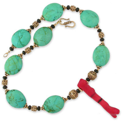 necklace of smooth stabalized green/aqua turquoise with faint yellow accents intersersed with gold-fill beads and faceted black onyx rondelles on either side of a 66mm long red coral branch pendant.