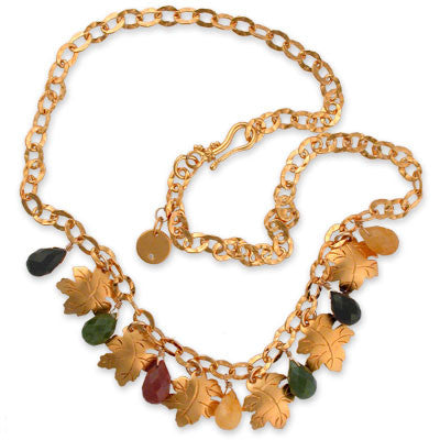 necklace of hammered 22K vermeil chain with 7 faceted multi-colored jasper drops interspersed with 6 22K vermeil leaves.
