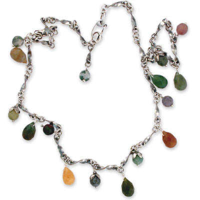 oxidized sterling chain necklace with multi-colored faceted jasper drops and beads. Faceted jasper bead dangle.