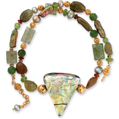 dichroic glass pendant in celery greens on necklace of green garnet, peridot, pearls, serpentine and hessonite.