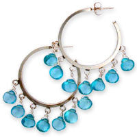 7 aqua apatite hearts on 7-loop posts