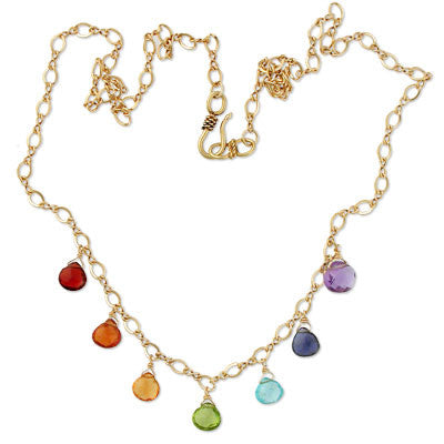 gold-fill figure 8 chain with faceted briolettes in the primary chakra colors.
