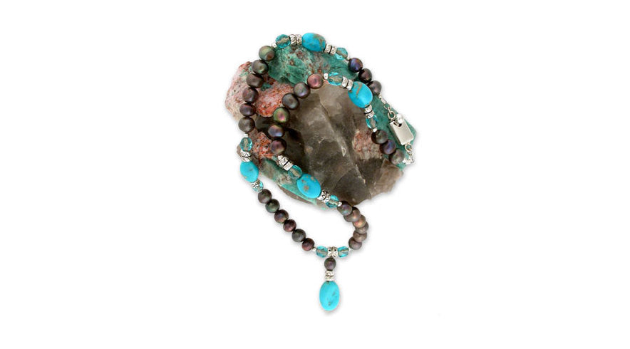 a turquoise &amp; pearl pendant on beautiful smooth turquoise nuggets -- from the famed <i>sleeping beauty</i> mine in <i>arizona</i>, large cocoa pearls &amp; <i>venetian</i> glass