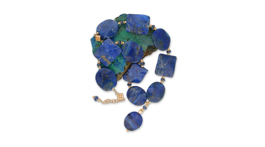 relive the splendors of a queen on the <i>nile</i> when you wear this stunning choker of lapis lazuli interspersed with bright blue rounds of 'gemmy' kyanite &amp; the rich warmth of 22K vermeil