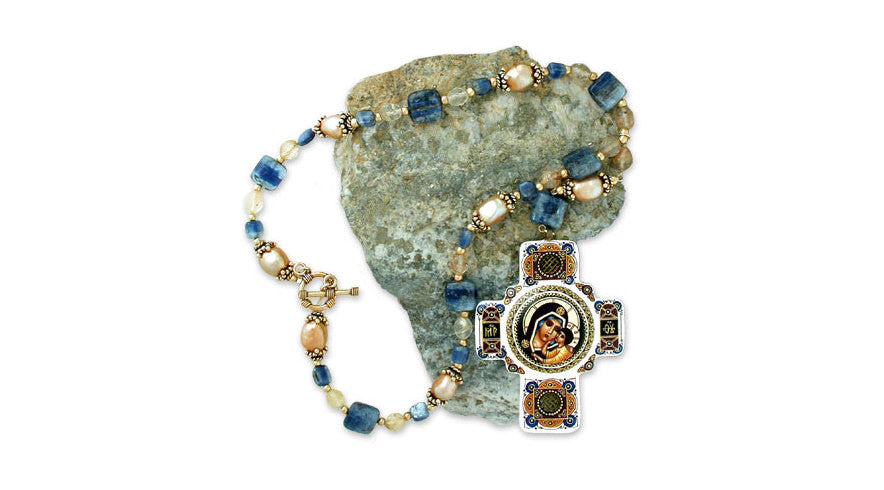 a rare, limited-edition <i>byzantine-style</i> hand-painted icon pendant of <i>madonna &amp; child</i> on large gold baroque pearls, smooth varigated blue kyanite squares &amp; golden-needled faceted rutilated quartz