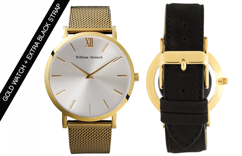 GOLD AND SILVER WATCH + STRAP - William Strouch - 1