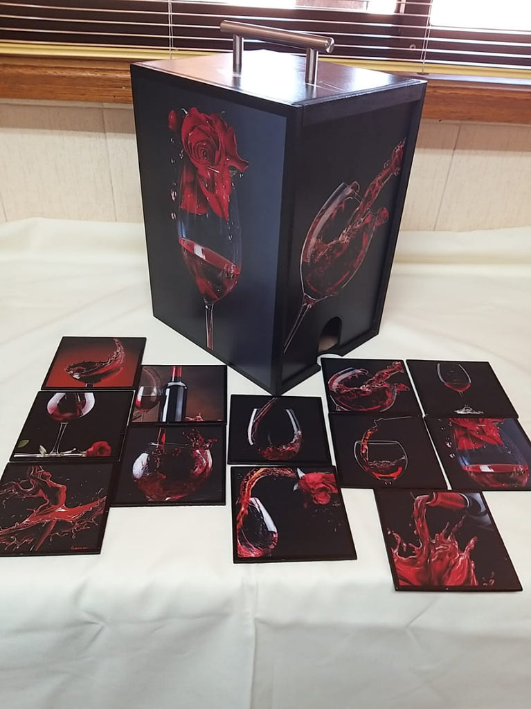 Wine box for 5 litre box wine with six  matching coasters - red wine theme