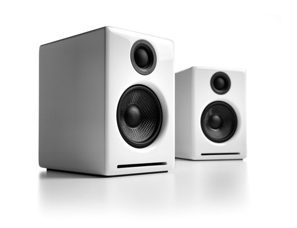 Audioengine A2+ Powered Desktop Speakers in White front 3-4 view