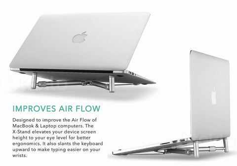 Ergonomic Laptop Cooling X-Stand Folding Portable Aluminium For Laptop 12-17 in