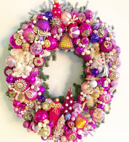 Custom Barbie and Vintage Jewelry Wreath