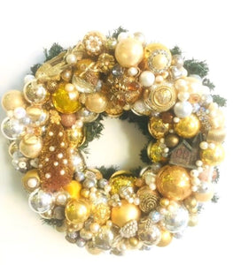 Custom Vintage Jewelry Wreath - Gold
