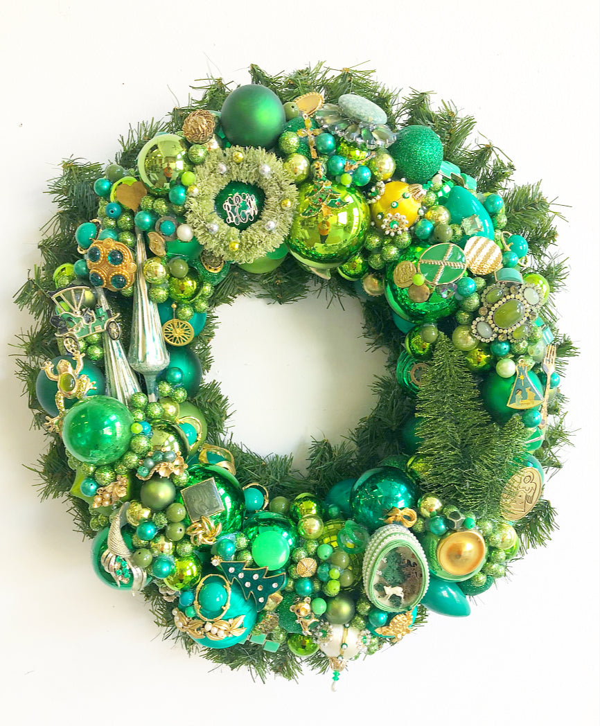 Custom Vintage Jewelry Wreath - Green