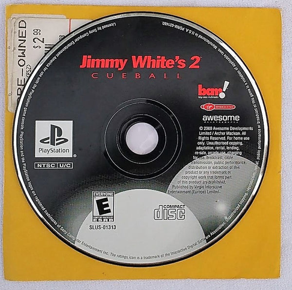 Jimmy White's Cueball Video Game for PS1 Console System