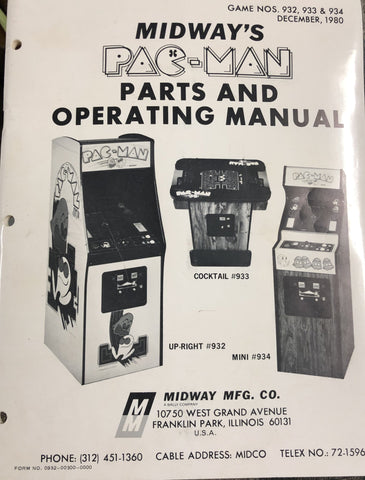 Pacman -Midway - Manual - Schematics - Instructions - Book - Used Copy