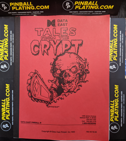 Tales From the Crypt- Data East - Pinball Manual - Schematics - Instructions - Book - Original Used Copy - FREE SHIPPING!