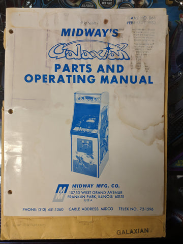 Galaxian- Midway - Manual - Schematics - Instructions - Used Copy