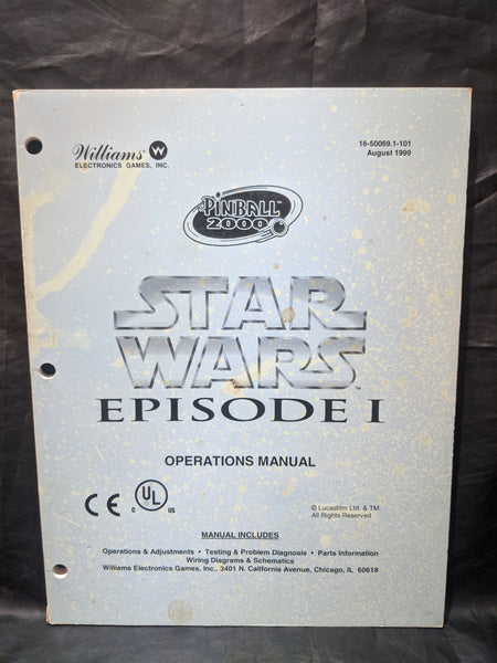 Star Wars Episode 1- Willliams- Pinball Manual - Schematics - Instructions - Used Copy