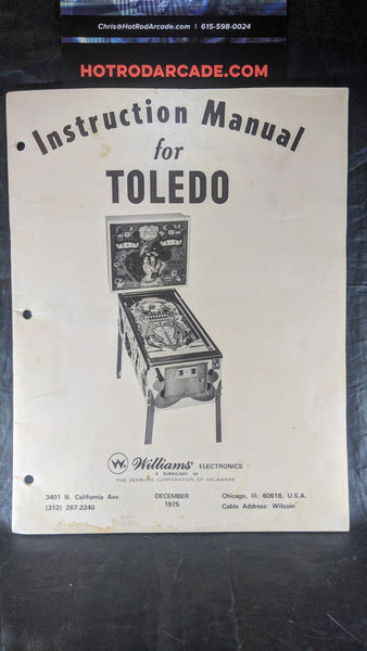 Toledo - Williams - Pinball Manual - Schematics - Instructions - Used Copy