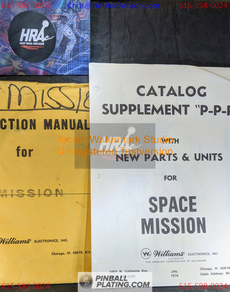 Space Mission (Copy #2)- Williams - Pinball Manual - Schematics - Instructions - Book - Original Used Copy - FREE SHIPPING!