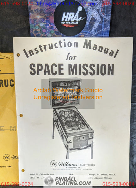 Space Mission - Williams - Pinball Manual - Schematics - Instructions - Used Copy