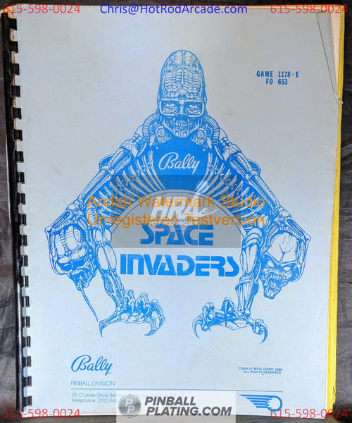 Space Invaders - Bally - Pinball Manual - Schematics - Instructions - Book - Original Used Copy - FREE SHIPPING!