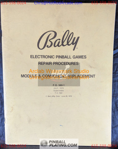 Bally Electronic Repair Module & Component - Pinball Manual - Schematics - Instructions - Used Copy