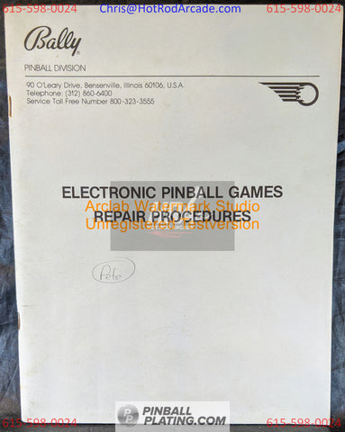 Bally Electronic Repair Procedures- Pinball Manual - Schematics - Instructions - Used Copy