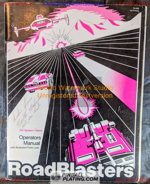 Road Blasters - Atari - Arcade Manual - Schematics - Instructions - Book - Original Used Copy - FREE SHIPPING!