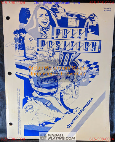 Pole Position II - Atari - Arcade Manual - Schematics - Instructions - Used Copy