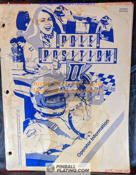 Pole Position II (Copy #2) - Atari - Arcade Manual - Schematics - Instructions - Book - Original Used Copy - FREE SHIPPING!