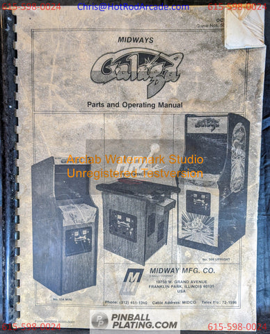 Galaga - Midway - Arcade Manual - Schematics - Instructions - Used Copy